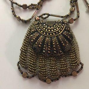 Jewelry - Boho, handmade bronze beaded amulet bag